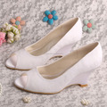 White Lace Wedge Shoes Peep Toe