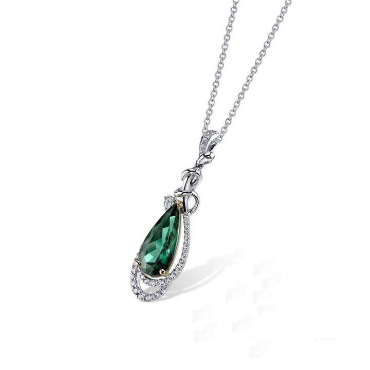 Latest Designs Mexican Jewelry 925 Sterling Silver Emerald Necklace