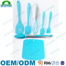 Solid top quality heat resistant silicone cooking utensils, silicone utensil piece 7 set, personalized kitchen utensils