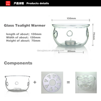 heat resistant borosilicate hand made glass warmer ,candle holder ,