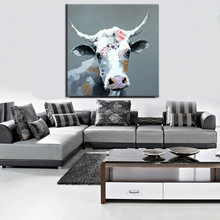 Wall art interior decoration oil painting on canvas animal abstract paintings cattle canvas wall decorations for living room
