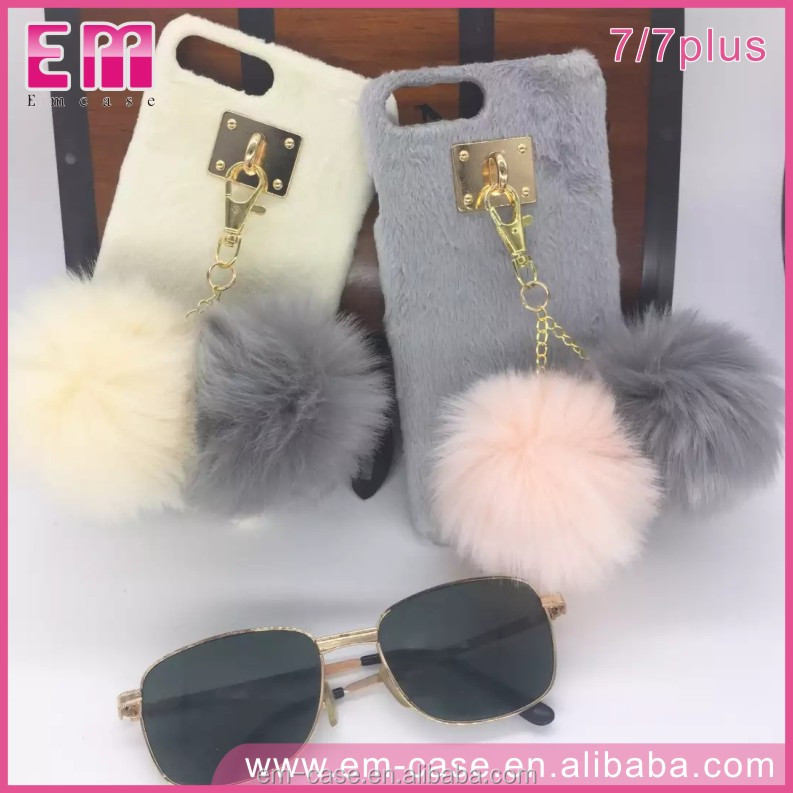 Alibaba Top Selling Girl Use Plush Phone Case Furry Ball Case Cover Hairy Soft Case for iPhone 7/7 Plus