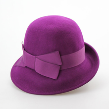 Wholesale 100% wool felt popular stylish ladies cloche hat with bowknot
