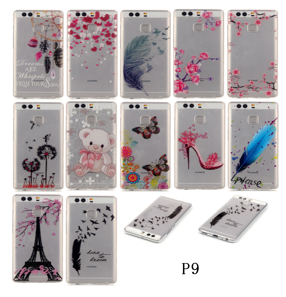 3D Cute Cartoon Bear Customized Smart Phone Transparent Clear TPU Case Cover for Huawei P9