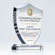 Customized super quality shield shaped k9 crystal award trophy for Dubai