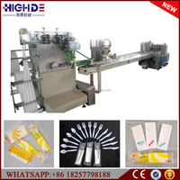 automatic folding cutting packaging machine plastic cutlery tableware disposable flow wrap