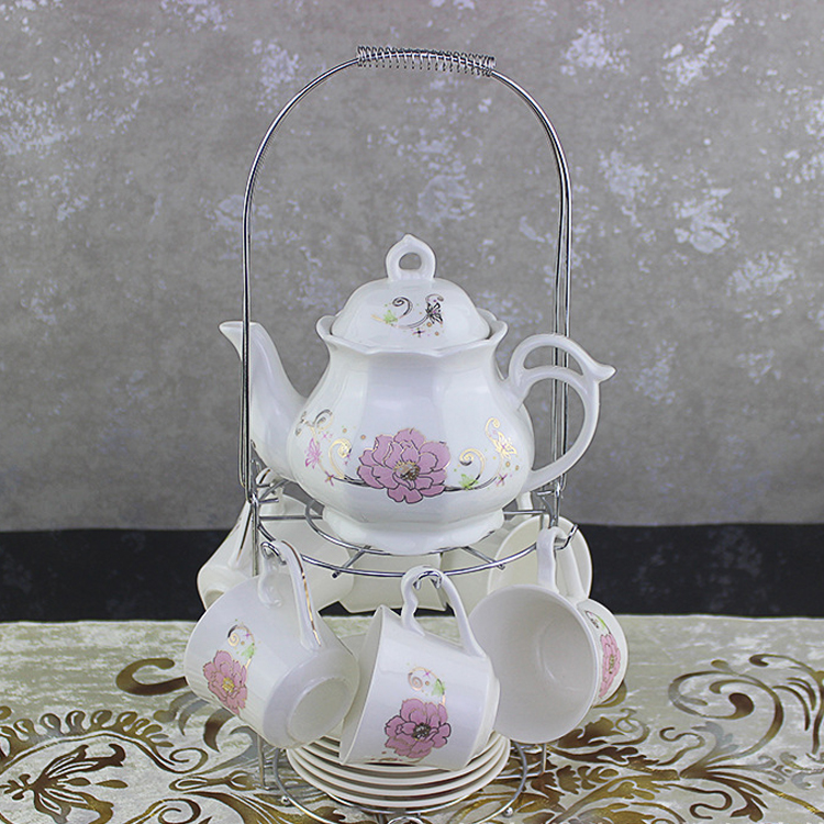 High quality porcelaiVintage Tea Set Fine bone China Collection Floral Rose Garden Pattern Tea cup with metal stand set for home