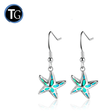 Sea life style 925 sterling silver synthetic starfish opal earrings jewelry