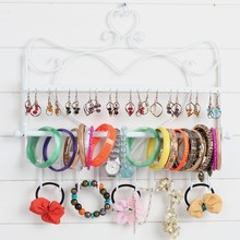 Wall Mounting Hanging Metal Jewelry Necklace Storage Bracelet Holder Rack with Metal Hooks