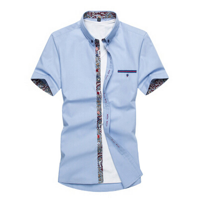 NEW 2015 Summer New Arrival Men'S Clothing Hot-Selling Short-Sleeve Shirt Casual Slim Fit Stylish Men's Dress Shirts M-4XL