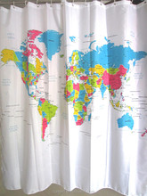 2017 world map printing shower curtain customed bath curtains T10