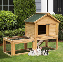Factory large Wood Rabbit Hutch Bunny Small Animal House Portable with Outdoor Run