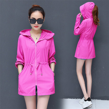 Summer Best Selling Korean Style Mid-Length Style Pure Color Sun Protection Clothing