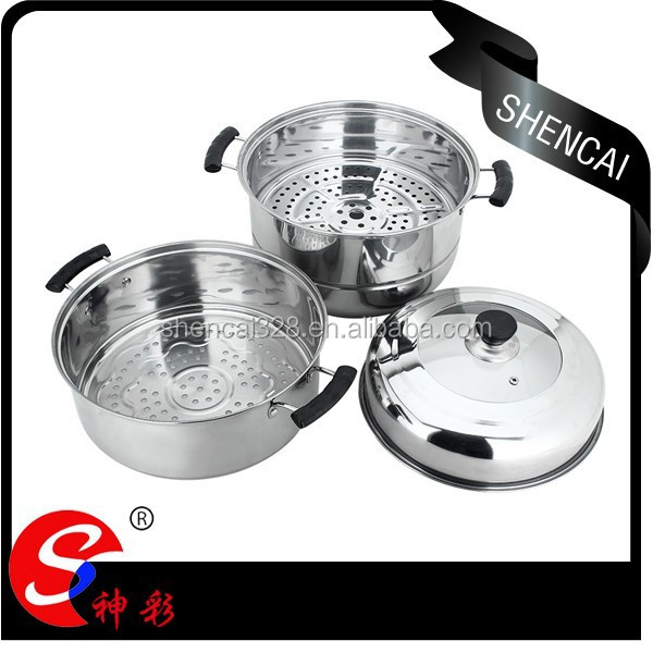 Capsule bottom stainless steel steamer pot with 2 steamer racks