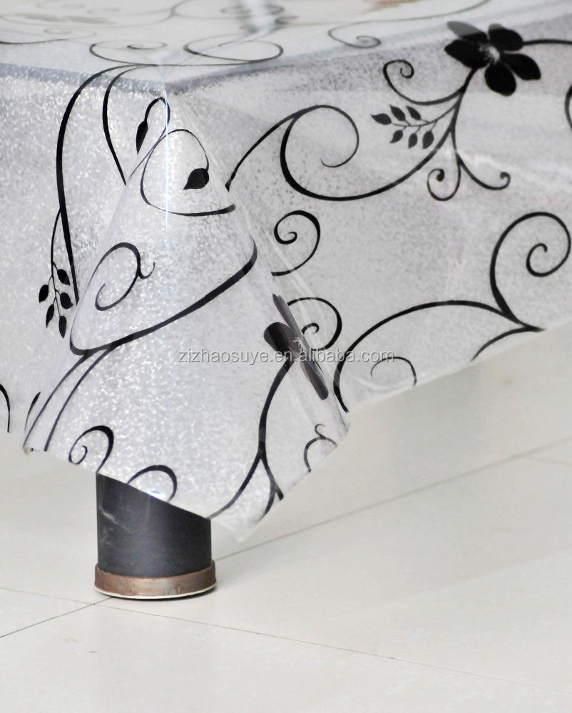 pvc shinning tablecloth with Lace border backing manufacture