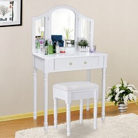 European modern vanity table French provencal style dresser country dressing table with mirror and stool