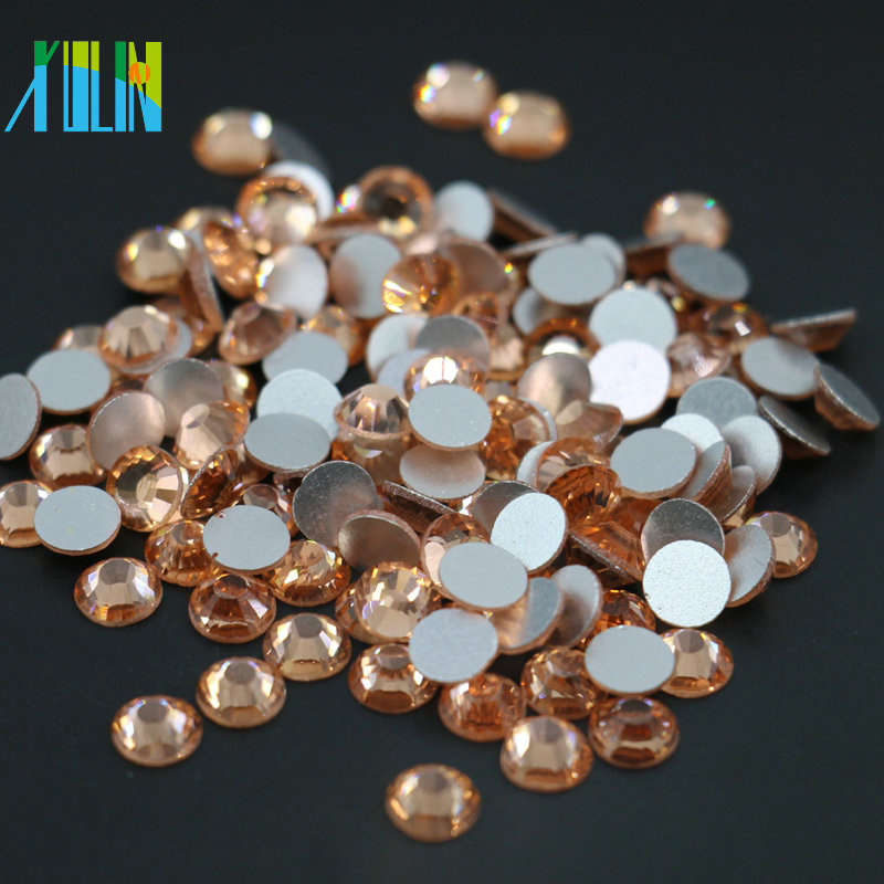 MS133 China Factory Wholesale All Size Flat Back Crystal Non Hot Fix Rhinestone for Nail Art Lt.Peach Color