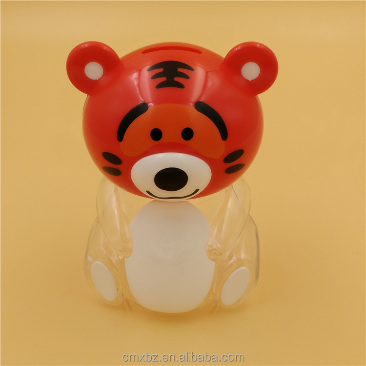 Dual use tiger animal shaped candy jar kids plastic coin box