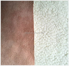 100% Polyester Micro Suede Bounding with Lamb Fur for garments