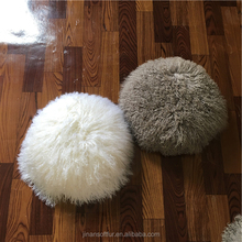 Sample Supplied Chinese Long hair Sheepskin pillow Round shape
