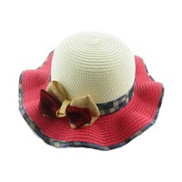 wholesale children kids wide brim sombrero beach Panama straw hat with checked ribbon bow