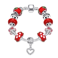 Newest Arrival Sweet Red Glass Beads Heart Dangle Snake Chain Charm Bracelets & Bangles for Girl Women Birthday Gift DIY Jewelry