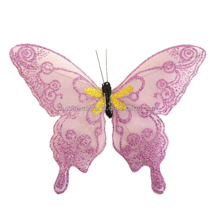 Delicate design glitter butterflies for floral arranging