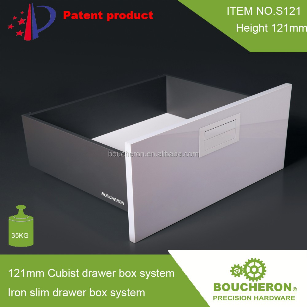 121mm Iron slim drawer box system Cubist drawer box system with AS3116 full extension undermount drawer slide