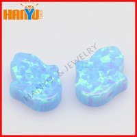 Drilled Opal Light Blue Synthetic Hamsa