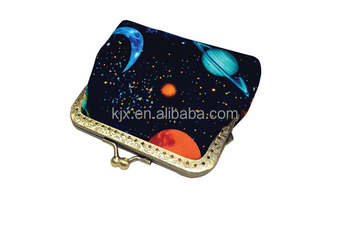 Young lady design felt metal openning purse gold supplier