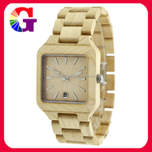 2015 NEW Technology Bend Square Wooden Watch With Calendar More Fit For Wrist