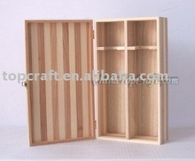 2015 natural pine wood 2 bottle Wooden Wine Box with inside bottle neck