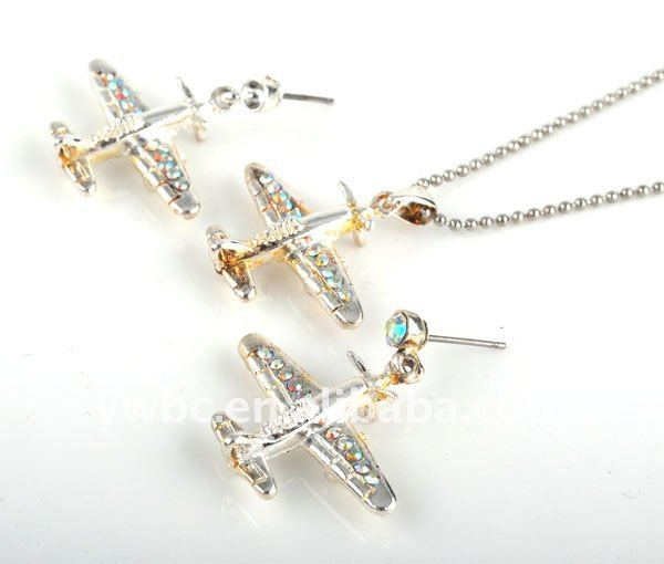 Newest design crystal plane necklace and earring jewerly set(1105165)