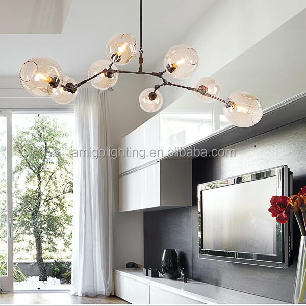 modern hanging blown glass ball chandelier GB58-8 black