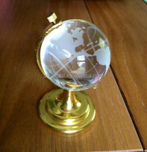 Etched Crystal World Globe on Brass Stand MH-SJ046
