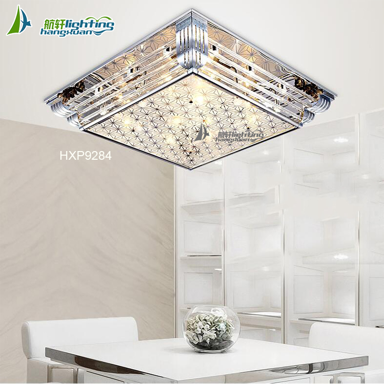 square murano k9 crystal Modern ceiling led light chandelier