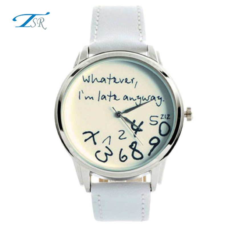 <strong>Hot</strong> & Wholesale Joyful Unisex Watches Women Men Funny Whatever I am Late Anyway Leather Quartz Wrist Watch