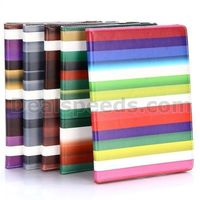 Colorized Stripes Pattern 360 Rotating Elastic Belt Flip Stand PC+PU Leather Cases for iPad Air 2