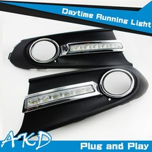 AKD Car Styling LED Drl for VW Polo Sedan DRL Russia Polo LED DRL Fog lamp LED Daytime Running Light Good Quality LED Fog lamp