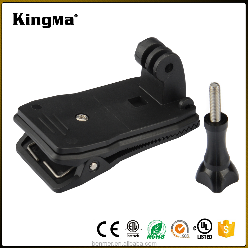 KingMa 360 Rotary Backpack Rec-mounts Clip Fast Clamp Mount & Screw for go pro action camera accessories