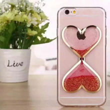 Hot sell sandy clock mobile phone case for iPhone 6 plus, Heart-shape sandglass phone cover shell for iPhone 6 Clear TPU+PC