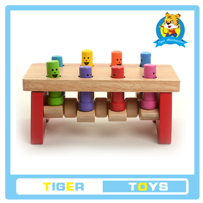Wooden Children educational Toy-Wooden Hammer Bench With 8 Pegs Game - Hamaster