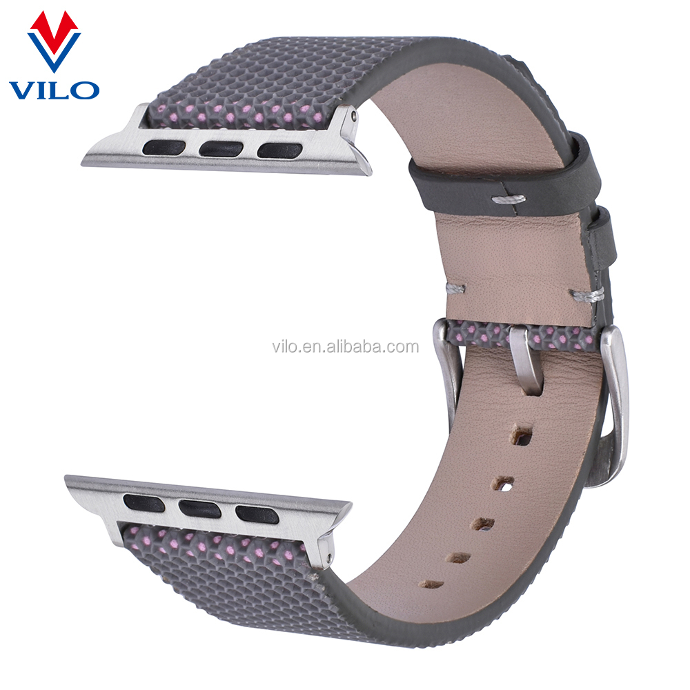 Newest leather wrist watch band fashion grey genuine leather 22mm band wrist adjustable bands for iwatch