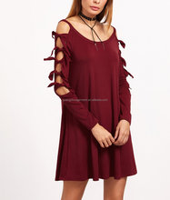Guangzhou Clothing OEM Burgundy Cold Shoulder Jersey Knotted Raglan Sleeve Dress