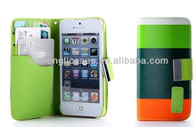 New Hybrid Leather Wallet Flip Pouch Stand Case Cover For Apple iPhone 5g 5s