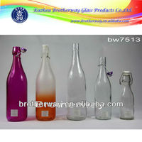 round 250ml,500ml,750ml 1000ml(1L) mineral water glass bottle with plastic/ceramic swing lid