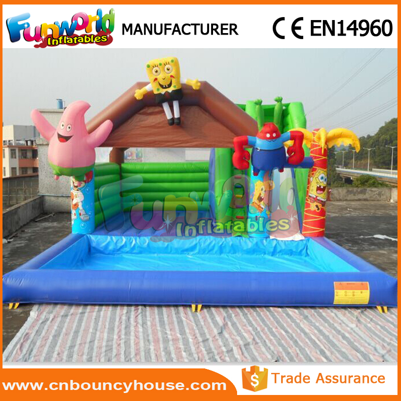 Kids bouncer slide pool spongebob inflatable water slide