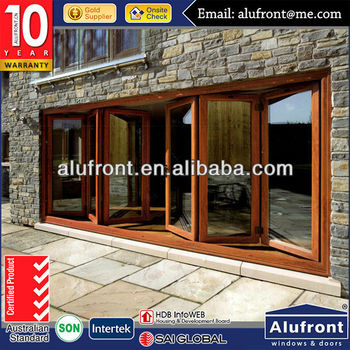 Wood clad aluminum folding door designs