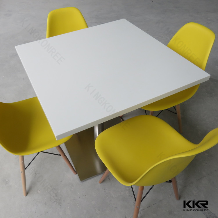 Renewable pure white square canteen table and chair