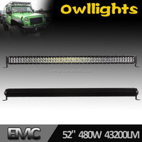 480w 43200lm 52inch LED light Bar for 4x4 Offroad Heavy Duty Machine Boat Car Accessories Made in China